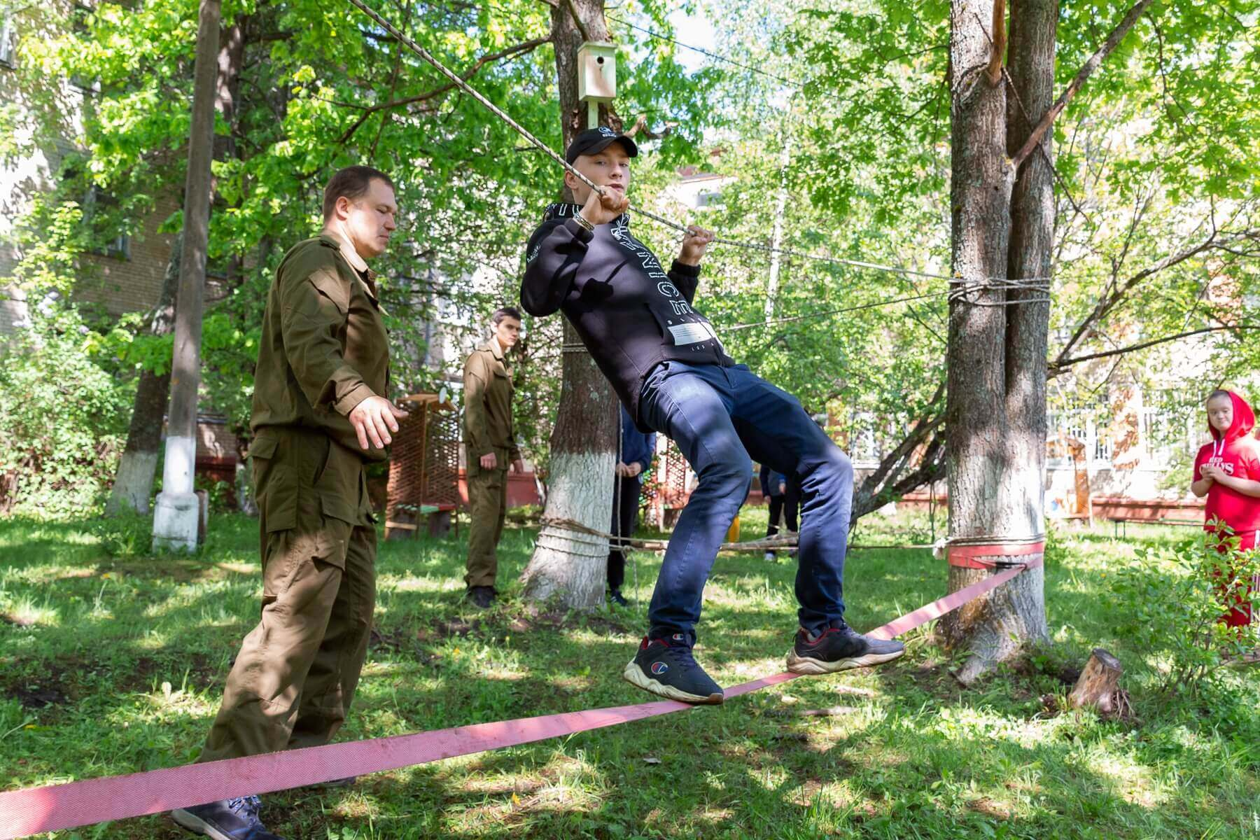 Военно-спортивная игра Зарница, верёвочная полоса препятствий
